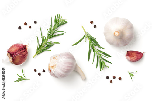 Garlic, Rosemary and Pepper Isolated on White Background
