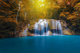 Waterfall with tree in autumn forest, Kanchanaburi, Thailand