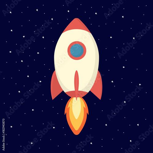 Fototapeta illustration with spaceship and stars