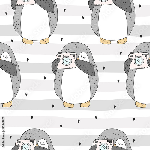 Cotton fabric Seamless pattern with cute penguins. Hand-drawn illustration. Vector.