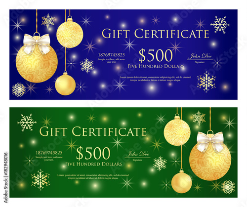 Zdjęcia na płótnie, fototapety, obrazy : Royal blue and green gift certificate with golden Christmas balls and sparkling background