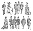 ladies and gentlemen. Man and woman figure collection. Vintage Hand Drawn big set. Group of people of the Victorian era. Fashion and clothes. Retro Illustration in ancient engraving style
