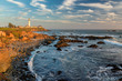 Quadro Pacific ocean coast near Pigeon Point Lighthouse at sunset, California.