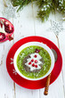 Christmas food healthy idea. Green smoothies decorated with Chri - 182953409
