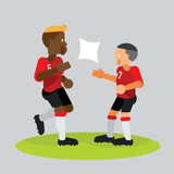 soccer players team partner celebrate with high five vector illustration - 182956413
