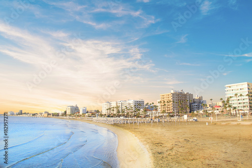 Plagát Beautiful view of the main street of Larnaca and Phinikoudes beach in Cyprus
