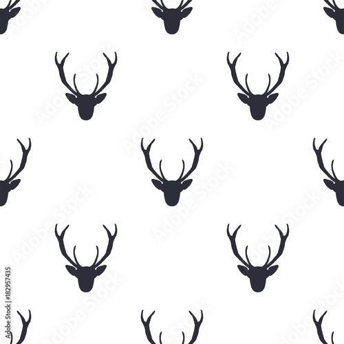 Fotobehang Hipster Hert Deer head pattern. Wild animal symbols seamless background. Deers icon. Retro wallpaper. Stock vector illustration isolated on white