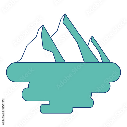 Foto op Canvas Wit peak mountain snow landscape land scene vector illustration image green