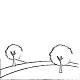 landscape with two trees on the hill vector illustration - 182959040