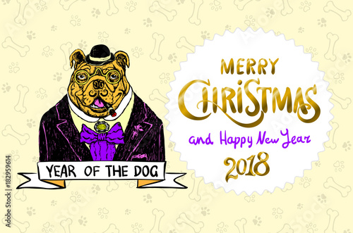 Dog. Merry Christmas and a Happy New Year 2018. Happy, funny bulldog