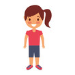 cute young girl child happy cartoon vector illustration