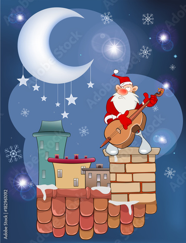 Papiers peints Chambre bébé Illustration of the Cute Santa Claus Musician on the Roof