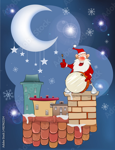 Deurstickers Babykamer Illustration of the Cute Santa Claus Musician on the Roof