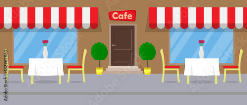 Fototapeta Cute Street cafe tables with white tablecloths and vases with flowers on it. Flat vector illustration.