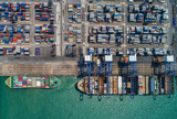container ship in import export and business logistic.By crane ,Trade Port , Shipping, cargo to harbor, Aerial view, Top view. - 182963063