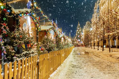 Boże Narodzenie w Moskwie. Świątecznie udekorowany plac czerwony