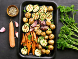 Grilled vegetables, top view - 182963490
