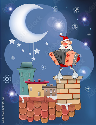 Staande foto Babykamer Illustration of the Cute Santa Claus a Accordion Player on the Roof
