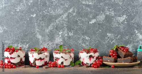 Chocolate dessert with red currant
