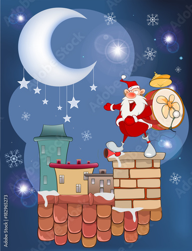 Staande foto Babykamer Illustration of the Cute Santa Claus Musician on the Roof
