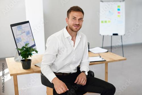 Man In Office. Portrait Of Male Worker