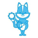 Cute fox with tambourines icon vector illustration graphic design - 182971676