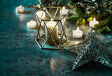 Candles and stars Christmas lights decoration dark background - 182971876