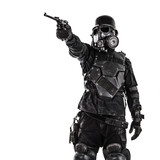 Futuristic nazi soldier gas mask and steel helmet with luger pistol handgun isolated on white studio shot - 182974406