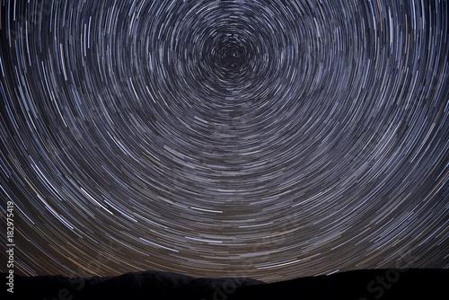mountains star tracks sky revolve