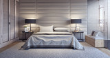 Modern white bedroom design with bathroom 3D Rendering - 182975865