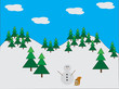 Snowman in pine forest with squirrel