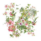 watercolor painting of leaves and flower, on white background - 182987877