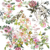Watercolor painting of leaf and flowers, seamless pattern on white background - 182988034