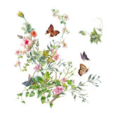 watercolor painting of leaves and flower, on white background - 182988044