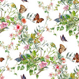 Watercolor painting of leaf and flowers, seamless pattern on white background - 182988055
