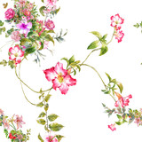 Watercolor painting of leaf and flowers, seamless pattern on white background - 182988066