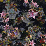 Watercolor painting of leaf and flowers, seamless pattern on dark background - 182988287