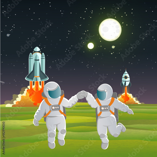 Foto op Aluminium Kosmos Two cosmonauts hold hands and dance against the background of spacecraft and rockets taking off from a strange planet. Space travel. Love. vector illustration