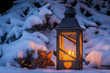 lantern for christmas in the snow - 182995485