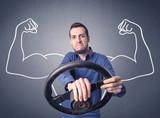 Man holding steering wheel - 183000204
