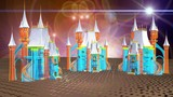 Vista notturna di castelli medioevali virtuali