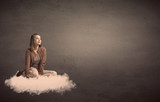 Woman sitting on a cloud with plain bakcground - 183004660