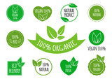 Set of vegan, organic, healthy food signs, logos, icons, labels. Healthy food badges, tags set for cafe, restaurants, products packaging etc