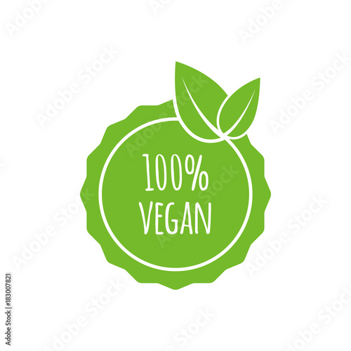 Vector round vegan, eco, bio green logo with leaf. Vegan menu. Vector illustration - 183007821