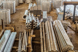 Warehouse of finished metal products in the industrial shop - 183010873