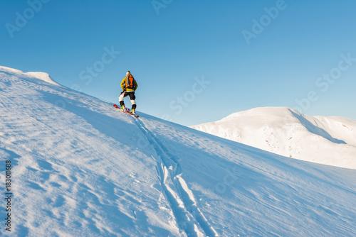 Foto op Canvas Blauw Ski touring in northern Norway