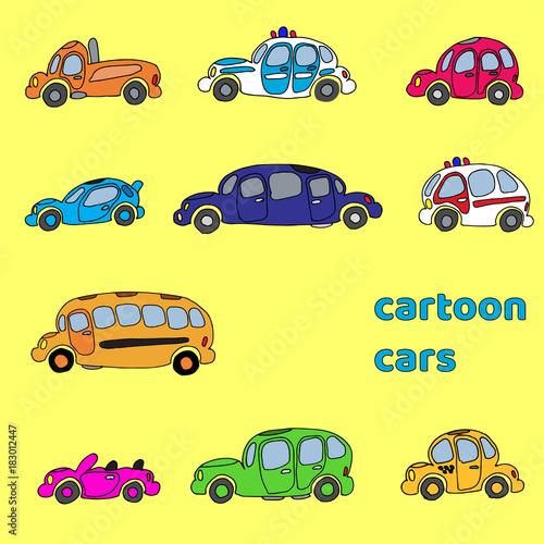 Fotobehang Auto Hand drawn simple cartoon cars set