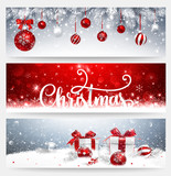 Christmas Banners Set with Balls and Gifts - 183014246