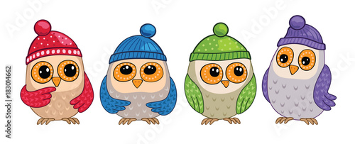 Plexiglas Uilen cartoon Set of cute owls in forest. Birds in hats. Seamless illustration.