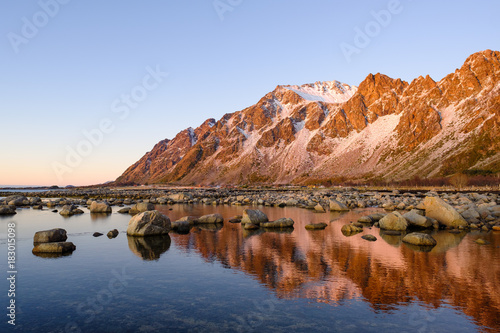 Foto op Aluminium Blauwe hemel Landscape in Vesterålen, Norway